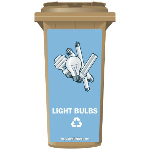Assorted Light Bulbs Recycling Wheelie Bin Sticker Panel