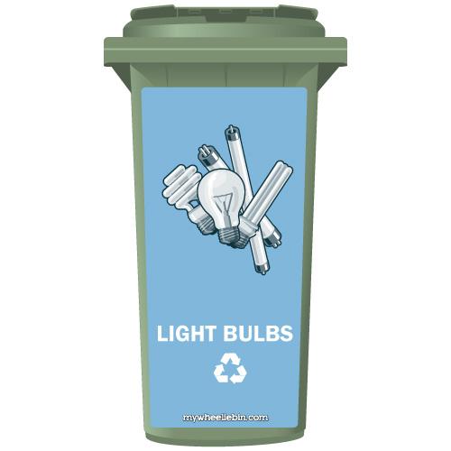 Light Bulbs Recycling Wheelie Bin Sticker Panel