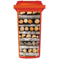 Logs Stacked in Hammock Span Wheelie Bin Sticker Panel