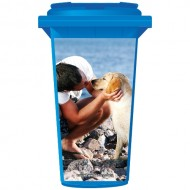 Man And Dog On The Beach Wheelie Bin Sticker Panel