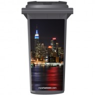 New York City At Night Wheelie Bin Sticker Panel