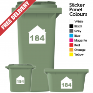 Wheelie Bin Sticker Numbers House Style (Pack Of 12)