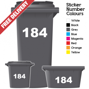 Wheelie Bin Sticker Numbers Just Numbers Style (Pack Of 3)