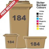 Wheelie Bin Sticker Numbers Just Numbers Style (Pack Of 12)