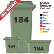 Wheelie Bin Sticker Numbers Just Numbers Style (Pack Of 6)