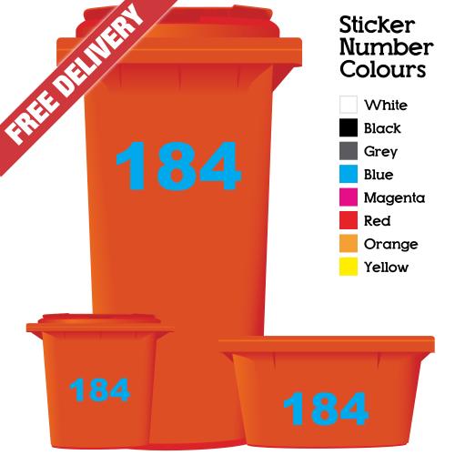 Round Bin Sticker Numbers Red//White Set of 4