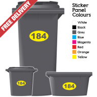 Wheelie Bin Sticker Numbers Oval Style (Pack Of 6)