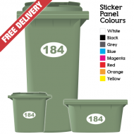 Wheelie Bin Sticker Numbers Oval Style (Pack Of 12)
