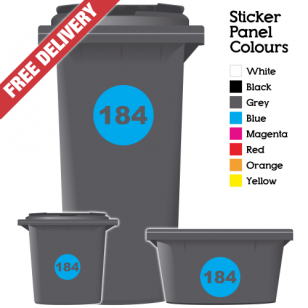 Wheelie Bin Sticker Numbers Round Style (Pack Of 12)