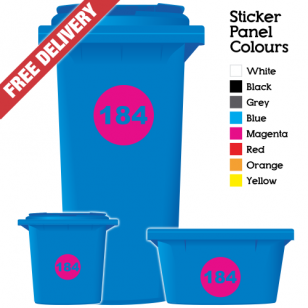 Wheelie Bin Sticker Numbers Round Style (Pack Of 3)