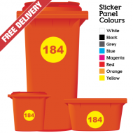 Wheelie Bin Sticker Numbers Round Style (Pack Of 6)