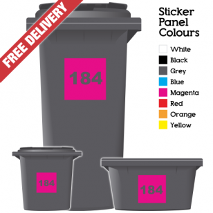 Wheelie Bin Sticker Numbers Square Style (Pack Of 3)
