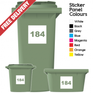 Wheelie Bin Sticker Numbers Square Style (Pack Of 6)