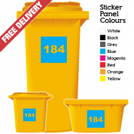 Wheelie Bin Sticker Numbers Square Style (Pack Of 12)
