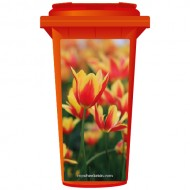 Orange And Red Flowers Wheelie Bin Sticker Panel