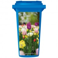 Pink And Yellow Flowers In A Field Wheelie Bin Sticker Panel