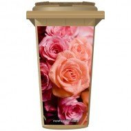 Pink Roses Wheelie Bin Sticker Panel