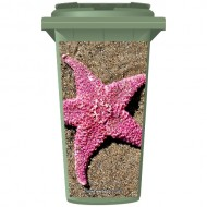 Pink Star Fish On The Beach Wheelie Bin Sticker Panel