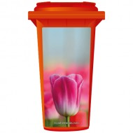 Pink Tulip About To Bloom Wheelie Bin Sticker Panel