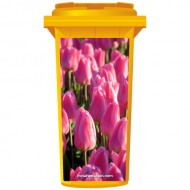 Pink Tulips In A Field Wheelie Bin Sticker Panel