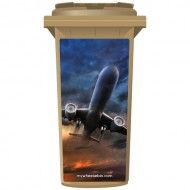 Plane In A Cloudy Sky Wheelie Bin Sticker Panel
