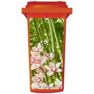 Pretty Pink Flowers In Bamboo Wheelie Bin Sticker Panel