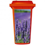 Purple Lavender Flowers Blooming Wheelie Bin Sticker Panel