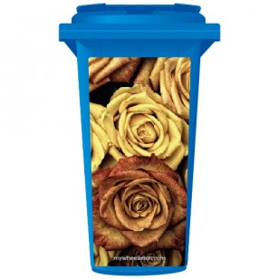 Red And Yellow Roses Wheelie Bin Sticker Panel