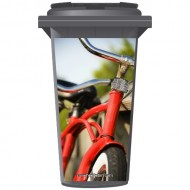 Red Bicycle Wheelie Bin Sticker Panel