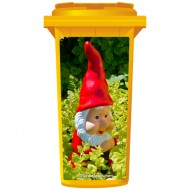 Red Gnome In The Garden Wheelie Bin Sticker Panel