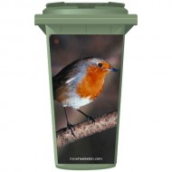 Robin On A Branch Wheelie Bin Sticker Panel
