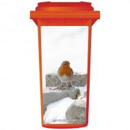 Robin Red Breast In The Snow Wheelie Bin Sticker Panel