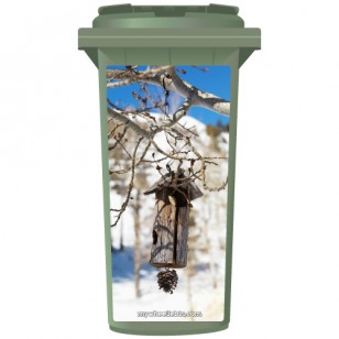 Rustic Bird House Hanging From Tree Wheelie Bin Sticker Panel