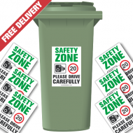 Safety Zone 20 mph Speed Reduction Wheelie Bin Stickers