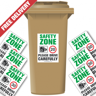 Safety Zone 30 mph Speed Reduction Wheelie Bin Stickers