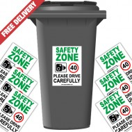 Safety Zone 40 mph Speed Reduction Wheelie Bin Stickers