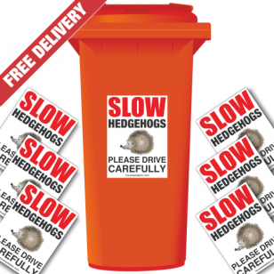Slow Hedgehogs Please Drive Carefully Speed Reduction Wheelie Bin Stickers