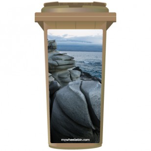 Smooth Rocks On A Shoreline Wheelie Bin Sticker Panel
