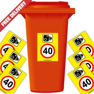 Speed Camera 40 mph Speed Reduction Wheelie Bin Stickers
