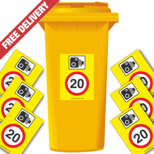 Speed Camera 20 mph Speed Reduction Wheelie Bin Stickers