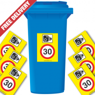 Speed Camera 30 mph Speed Reduction Wheelie Bin Stickers