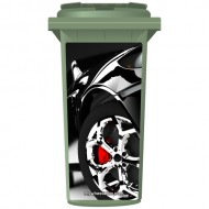 Sports Car With Chrome Wheels Wheelie Bin Sticker Panel