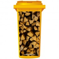 Stack Of Chopped Fire Wood Wheelie Bin Sticker Panel