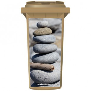 Stack Of Pebbles At The Beach Wheelie Bin Sticker Panel