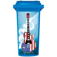 Stars And Stripes Guitar Wheelie Bin Sticker Panel