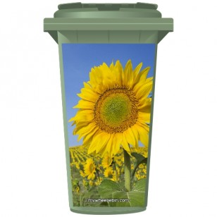 Sunflowers In A Field Wheelie Bin Sticker Panel