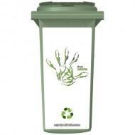 Think Green Recycle Handprint Wheelie Bin Sticker Panel