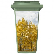 Trees In A Forest With Golden Leaves Wheelie Bin Sticker Panel