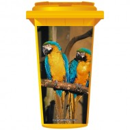 Two parrots On A Branch Wheelie Bin Sticker Panel