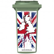 Union Jack Map Of The UK Wheelie Bin Sticker Panel